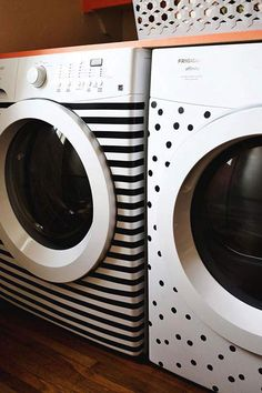 Decorate washer and dryer with tape.