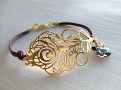 Plum Purple Mystical Peacock Jewelry Bracelet, 16K Gold Plated Feather, Gift for Her, Wedding Gift, Girlfriend, Best Friends