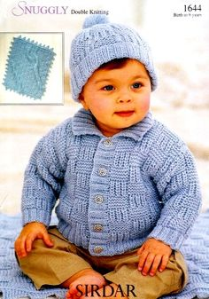 "Sirdar 1644 Jacket Hat and Blanket. Knitted in DK.  For chest sizes: 16"" 18"" 20"" 22"" 24"" & 26"""