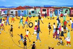 Katherine Ambrose artwork 'After School Games' Online Gallery, Art Gallery, African Art For Sale, South African Artists, School Games, African American Art, Art Portfolio, After School, Art Google