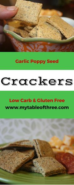 Garlic Poppy Seed Crackers (Low Carb, Gluten Free)