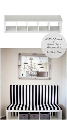 This ikea hack would be a great room divide. seating on one side into the kitchen nook & and additional bookshelf on the backside for storage. 10 Totally Ingenious, Ridiculously Stylish IKEA Hacks // Live Simply by Annie Ikea Regal Expedit, Ikea Kallax Hack, Ikea Lack, New Swedish Design, Banquette Seating, Booth Seating, Table Seating, Ikea Furniture, Painted Furniture