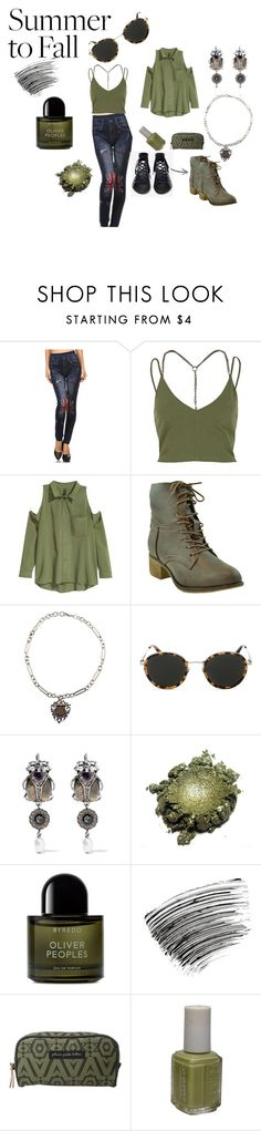 """""""BRIT PATCH JEANS ~ SUMMER TO FALL"""" by michelle858 ❤ liked on Polyvore featuring River Island, Jeffrey Campbell, Taylor Morris, Alexander McQueen, Byredo, Bobbi Brown Cosmetics, Petunia Pickle Bottom, Essie, jeans and armygreen"""
