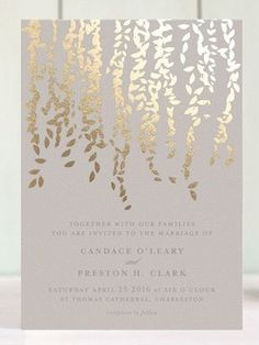 Gorgeous muted blush and gold invitation from Minted [ Cascade Foil Pressed Invitation] featured in this blush wedding style