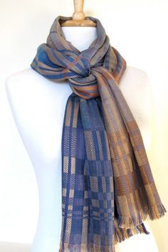 Silk scarf by LilouColours on Etsy: hand-painted warp, block twill, natural dyes.