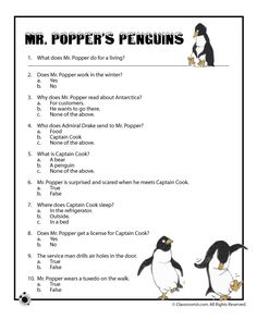 Activity worksheets for Richard and Florence Atwater's classic children's book Mr. Popper's Penguins.