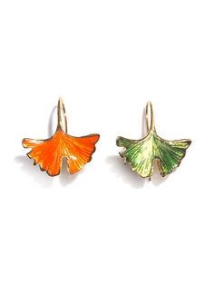 Adore these mismatched earrings...Aurélie Bidermann GINKO LEAF EARRINGS