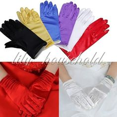 """US 9"""" Lady Short Smooth Satin Gloves Wrist Formal Wedding Evening Prom 6 Colors"""