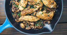 Balsamic Chicken with Mushrooms and Thyme is ready 25 minutes, tastes like a restaurant dish, and is healthy and low carb.