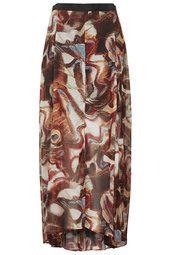 Moth Wing Print Maxi Skirt