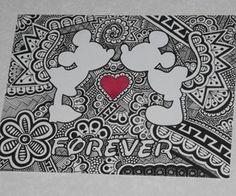 Mickey and minnie forever print by curbedchaos on etsy mandalas arte, dibuj Arte Disney, Disney Art, Mandalas Drawing, Disney Coloring Pages, Zentangle Patterns, Zentangles, Disney Drawings, Easy Drawings, Doodle Art