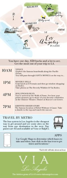 Can you do LA in a day? Although Los Angeles is large, you can still see all that it has to offer on both the east and west sides. Here's an itinerary to help you out. For Travelers: LA In A Day Map! via Via Los Angeles West Coast Usa, West Coast Road Trip, California Vacation, California Dreamin', Map Los Angeles, Los Angeles Tourism, Los Angeles Day Trips, Venice Los Angeles, Los Angeles Travel Guide