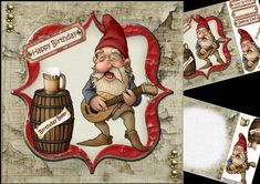 """8x8 birthday beer mandolin gnome mini kit on Craftsuprint designed by Carol Smith - a mini kit for the men has a very cute gnome playing his mandolin and singing away I think he is singing """"happy birthday to you"""" along side him is a beer barrel with a jug of beer on top and the words birthday beer across the barrel, co-ordinating tags say happy birthday and special dad also a blank tag for the greeting of your choice. A matching insert plate is also included in the kit.thank you for looking…"""