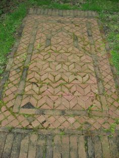 Margaret Kerr garden, brick prayer rug in the garden, inspired by Persian and Indian rugs.