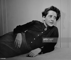 Portrait of German-born American political theorist and author Hannah Arendt…