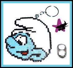 Smurf keychain hama beads by Ana Isabel