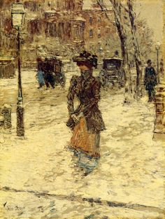 childe hassam | Lady Walking down Fifth Avenue