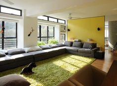 minimalist living area | Green Area Rugs in Modern Minimalist Living Room