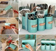 Upcycled Tin Can Cutlery Caddy
