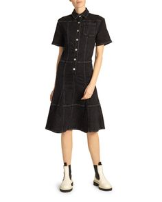 Proenza Schouler Short Sleeve Collared Denim Dress In 02018 Washed Black Short Sleeve Dresses, Dresses With Sleeves, Patchwork Dress, Feminine Dress, Proenza Schouler, Stretch Denim, Fit And Flare, Clothes For Women, Label