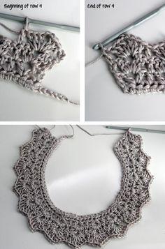 Cuello romántico de ganchillo. Aguja del 4, lana y algodón.
