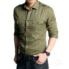 Want! Army Green Mens Shirt Green Man, Army Green, Military Jacket, Mens Fashion, Cotton, How To Wear, Jackets, Shirts, Stuff To Buy
