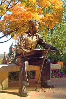 Robert Frost statue at Plymouth State University, Plymouth, NH - www.lakesregion.org