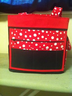Back of red and black purse