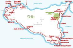 Il percorso del nostro viaggio in Sicilia in camper: costa est, costa sud ed estremo occidentale dell'isola.