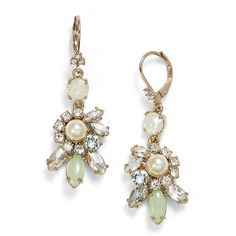 Women's Marchesa Faux Pearl & Crystal Cluster Drop Earrings (1 435 UAH) ❤ liked on Polyvore featuring jewelry, earrings, imitation pearl earrings, marchesa, faux pearl earrings, sparkly earrings and fake pearl drop earrings
