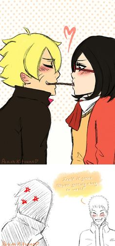 ~Pocky: Sarada and Boruto hehe..........Daddy Naruto is smiling and Daddy Sasuke is pissed