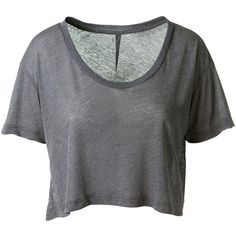 Unravel Grey Cropped T-Shirt ($190) ❤ liked on Polyvore featuring tops, t-shirts, shirts, crop top, t shirts, cotton tee, cotton t shirt, cotton shirts and grey crop top