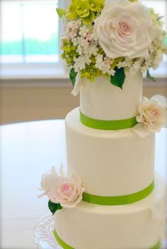 Hydrangea & Rose Wedding Cake by Decorator MyFavoriteCake - click the image to learn more about the inspiration behind the project and give it a heart or Add your comment.