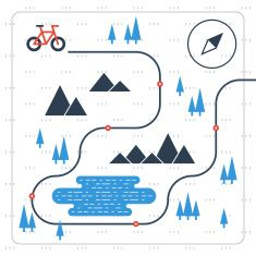 Cross country bicycle map stock vector art 83456233 - iStock