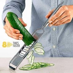 Why Do You Waste Your Time Cutting Vegetables?  If you were tired of slicing by hand, this slicer is one of the best tools in your kitchen.  Our grater will make your work faster and smoother. Cool Gadgets To Buy, Cool Kitchen Gadgets, Home Gadgets, Cooking Gadgets, Gadgets And Gizmos, Cooking Tools, Kitchen Items, Kitchen Tools, Cool Kitchens