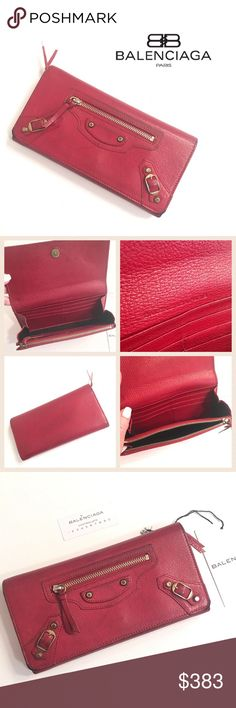 """Balenciaga Leather Wallet Balenciaga Paris beautiful Classic Money leather wallet done in a Crimson red with antique gold tone hardware. Subtle wear on flap corners. Flat snap closure (subtle wear on flap corners), front zip pocket, inside zip coin pocket, 4 bill slots and 8 credit card slots. Consignment item seller open to offers Measures about 7.5"""" X 4"""" X 1"""". EUC Balenciaga Accessories"""
