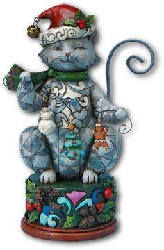 Jim Shore Heartwood Creek Cat with Christmas Garland Figurine