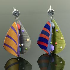 Wings Earrings Teardrop in Red Gold Peri Green Stripe by Arden Bardol: Polymer Clay Earrings available at www.artfulhome.com