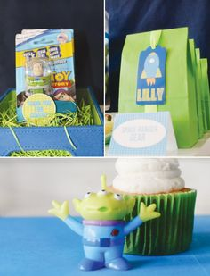 toy story space birthday party favors in lime green bags