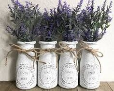 Farmhouse Milk Bottles / Country Milk Bottles / Rustic Milk Bottles / Farmhouse Decor / Country Decor / Rustic Decor / Farmhouse Style Decor A beautiful set of 4 milk bottles, lightly distressed paired with gorgeous lavender flowers! Country Farmhouse Decor, Farmhouse Style Decorating, French Country Decorating, Rustic Decor, Primitive Country, Modern Farmhouse, Country French, Vintage Farmhouse, Rustic French