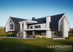Two storey house in modern style with usable area House with a large garage and cellar. Modern Family House, Modern Barn House, Contemporary House Plans, Barn House Plans, Dream House Plans, Modern House Plans, Modern House Design, English House, Architect House