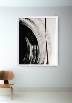 Original black and white abstract ink art painting on