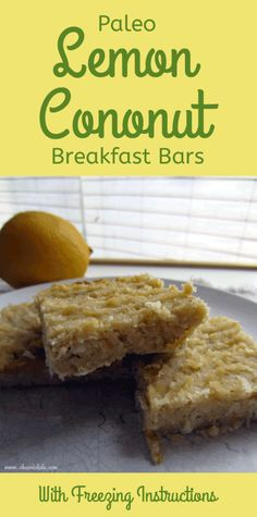 I LOVE anything lemon coconut, and these are paleo too! Need to try this and love that they're freezable! Coconut Recipes Paleo, Coconut Flour Desserts, Paleo Lemon Bars, Lemon Coconut Bars, Whole Food Recipes, Scd Recipes, Banting Recipes, Fodmap Recipes, Lunch Recipes