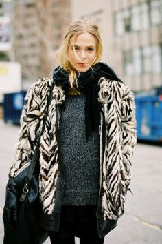 Street Style - furry coat - monstylepin #fashion #fauxfur #pattern #streetstyle