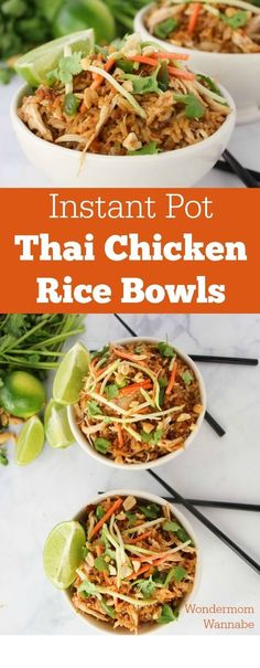 Instant Pot Thai Chicken Rice Bowl ~ This is one of my all-time favorite Instant Pot recipes! These Thai Chicken Rice Bowls are so flavorful and loaded with spicy goodness! ** CLICK PIN TO LEARN MORE! ** | Instant Pot | Instant Pot Recipes | Instant Pot Recipes Chicken | Instant Pot Recipes Family Healthy | Instant Pot Chicken | Instant Pot Ribs | Instant Pot Recipes Beef | Instant Pot For Beginner | Instant Pot Breakfast | Instant Pot Snacks | Instant Pot Lunch | Instant Pot Dinner |
