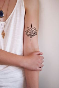 Lotus temporary tattoo / bohemian temporary tattoo / boho temporary tattoo…