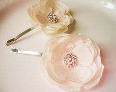 ivory flower bobby pins  Fabric flower bobby pins by BevlovesElla