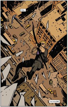 """Clint Barton shoots while jumping out of a window in the splash page of Marvel's """"Hawkeye #1"""" by Matt Fraction and David Aja."""