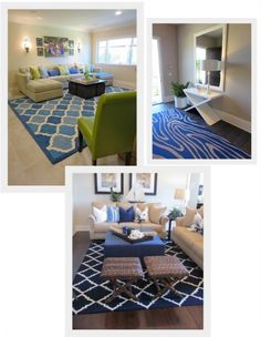 Blue rugs are always in style! They can compliment your color palette or add a statement piece as seen here.