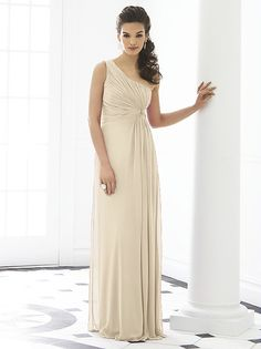 After Six Bridesmaid Dress 6651 -   Fabric: Lux Chiffon purchase swatch.  One shoulder empire waist full length lux chiffon dress w/ twist detail at draped bodice.